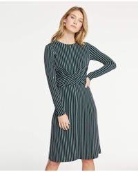 cfc7b4722db2 Lyst - Ann Taylor Petite Striped Linen Cotton Midi Dress in Blue