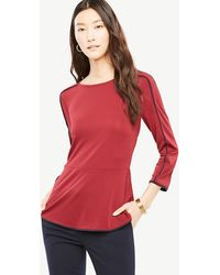 Ann Taylor | Piped Peplum Top | Lyst