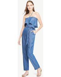 Ann Taylor   Petite Chambray Halter Top Jumpsuit   Lyst