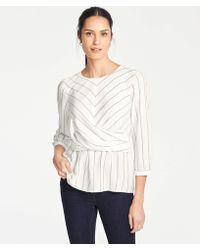 Ann Taylor - Petite Stripe Drape Front Top - Lyst
