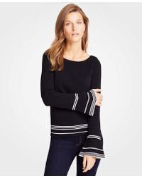 Ann Taylor - Striped Flare Sleeve Jumper - Lyst