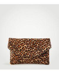 Ann Taylor   Leopard Print Haircalf Envelope Clutch   Lyst