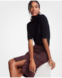 Ann Taylor - Tweed Side Button Pencil Skirt - Lyst