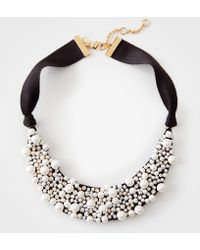 Ann Taylor - Pearlized Fabric Necklace - Lyst