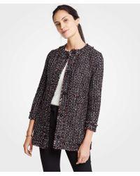 Ann Taylor - Tweed Ruffle Collar Jacket - Lyst