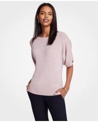 Ann Taylor - Stitched Short Sleeve Sweater - Lyst