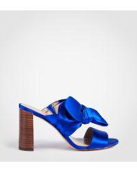Ann Taylor - Oriana Satin Bow Block Heel Sandals - Lyst