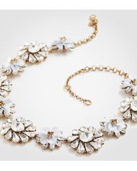 Ann Taylor - Sequin Crystal Floral Statement Necklace - Lyst