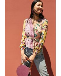 Meadow Rue - Floral Patchwork Wrap Blouse - Lyst