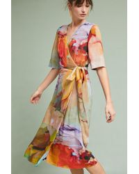 Bl-nk - Jarvia Watercolor Wrap Dress - Lyst
