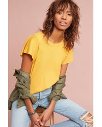Everleigh - Mahlia Ruffled Top, Yellow - Lyst