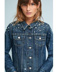 Pilcro - Pearled Denim Trucker Jacket - Lyst