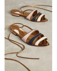 Luiza Perea | Metallic Tricolor Flat Sandals | Lyst