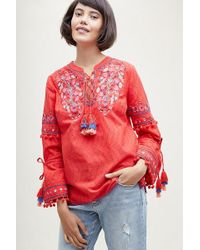 Anthropologie - Vanessa Embroidered-tasselled Peasant Blouse - Lyst