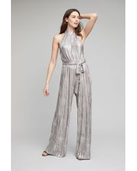 Anthropologie | Evelyn Metallic Pleated Jumpsuit | Lyst