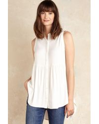 Everleigh - Elliot Sleeveless Shirt, White - Lyst