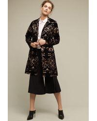 Plenty by Tracy Reese - Sadie Laced Velvet Coat, Black - Lyst