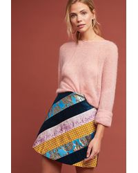 Anthropologie - Mixed-print Mini Suede Skirt - Lyst