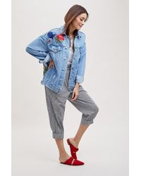 Anthropologie - Aira Floral-embroidered Denim Jacket - Lyst