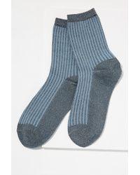 Becksöndergaard - Striped Lurex Ankle Socks - Lyst