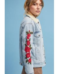 Levi's - Embroidered Sherpa Trucker Jacket - Lyst