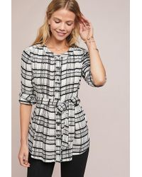 Anthropologie - Belted Plaid Tunic - Lyst