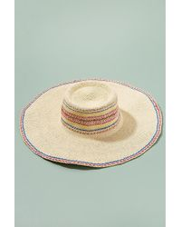 e4acfcfc5af Anthropologie - Embroidered-striped Floppy Hat - Lyst