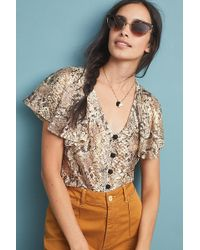 f3444c7c4ae5a Vanessa Virginia Carthage Embroidered Peasant Top in Natural - Lyst