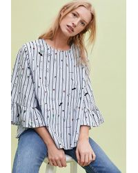 Anthropologie - Frida Striped-embroidered Top - Lyst