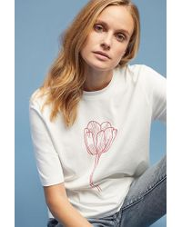 SELECTED - Printed Organic-cotton Tee - Lyst