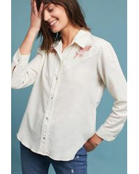 AMO - Floral Embroidered Buttondown - Lyst