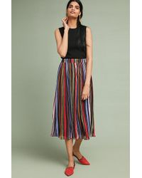 Anthropologie - Rainbow-striped Midi Skirt - Lyst
