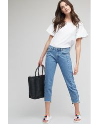 Just Female - Jones Cropped Step Hem Jeans, Light Blue - Lyst