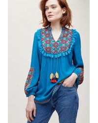 Anthropologie - Jessica Embroidered-tasselled Peasant Blouse - Lyst