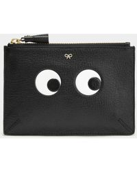 Anya Hindmarch - Eyes Small Embossed Textured Leather Pouch - Lyst