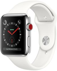 Apple - Watch Series 3 Gps + Cellular 42mm Stainless Steel Case Silver With Soft White Sport Band - Lyst