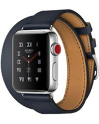 Apple - Watch Hermès Gps + Cellular 38mm Stainless Steel Case Silver With Indigo Swift Leather Double Tour - Lyst