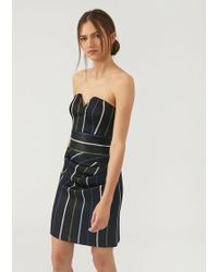 Emporio Armani - Metallic-stripe Draped Strapless Dress - Lyst