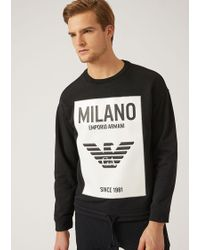 Emporio Armani - Milano Sweatshirt In Stretch Cotton~ - Lyst