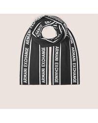Armani Exchange - Logo-knit Rectangular Scarf - Lyst