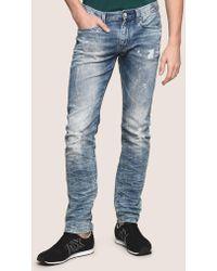 Armani Exchange - Slim-fit Bleached Distressed Jeans - Lyst