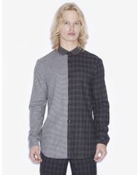 Armani Exchange - Regular-fit Pattern Blocked Plaid Shirt - Lyst