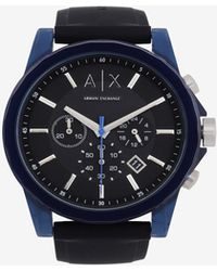 Armani Exchange - Chronograph Blue Case Silicone Band Watch - Lyst