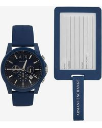 Armani Exchange - Chronograph Blue Silicone Strap Watch With LUGGAGE Tag Set - Lyst