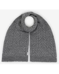 Armani Exchange - Cable-knit Wool-blend Rectangular Scarf - Lyst