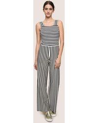Armani Exchange - Directional Stripe Ponte Jumpsuit - Lyst
