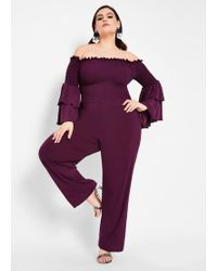 4a185100cd506 Lyst - Ashley Stewart Plus Size Tiered Off The Shoulder Jumpsuit in Red