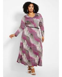 168a6532bfc8 Ashley Stewart - Plus Size Swirl Print Belted Maxi Dress - Lyst