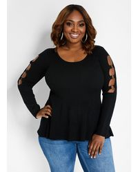 Ashley Stewart - Plus Size Embellished Cutout Flounce Sweater - Lyst