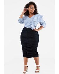65f4d57c04ad6 Ashley Stewart - Plus Size Long Ruched Front Denim Skirt - Lyst